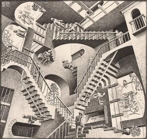 M.C. Esher, Relativity.